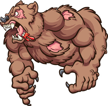 Angry zombie bear roaring cartoon. Vector clip art illustration with simple gradients. All on a single layer.