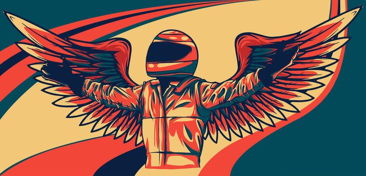 standing racer in helmet with hands on waist vector illustration