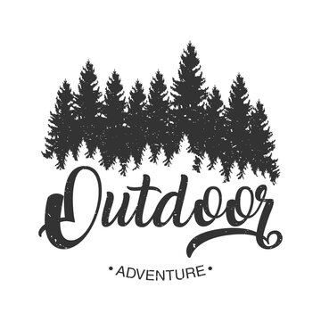 outdoor adventure lettering emblem with pines forest