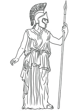 Ancient Greek goddess Pallas Athena in a helmet with a spear in her hand stands next to the column.. Vector illustration isolated on white background.