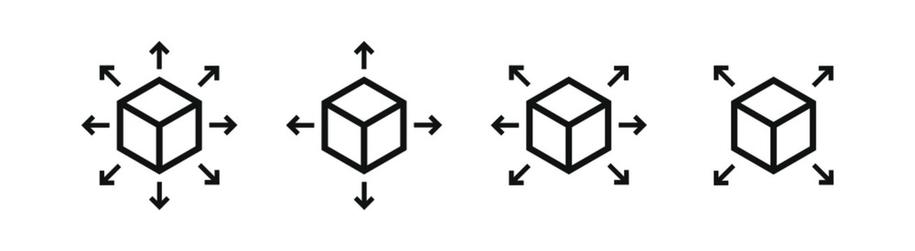 Set of Delivery logistic cube box package with arrows in different directions. Post package symbol.