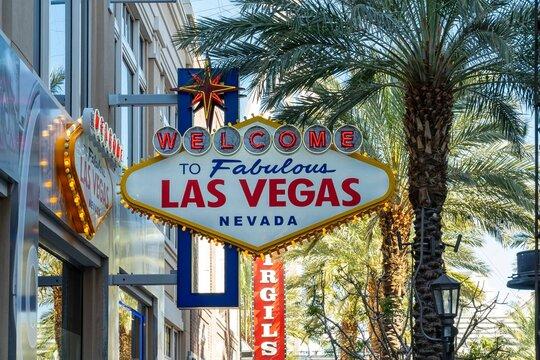 Vegas, Nevada, United States. February 26, 2020: Tourist signboard on Las Vegas boulevard