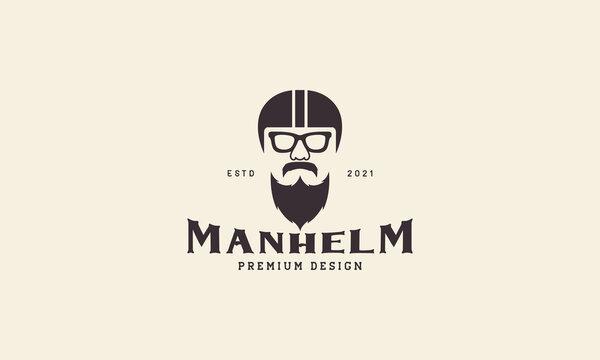vintage man with helmet and beard logo symbol vector icon graphic design illustration