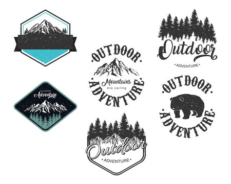 bundle of six outdoor adventure letterings emblems