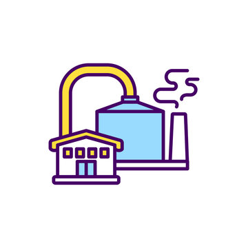 Anaerobic digestion RGB color icon. Wastewater biosolids, food wastes. Biological processes. Microorganisms breaking down biodegradable material in oxygen absence. Isolated vector illustration