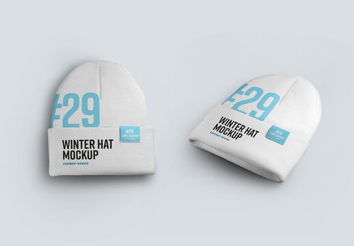 2  Winter Beanie Hat Mockups with Large Lapel
