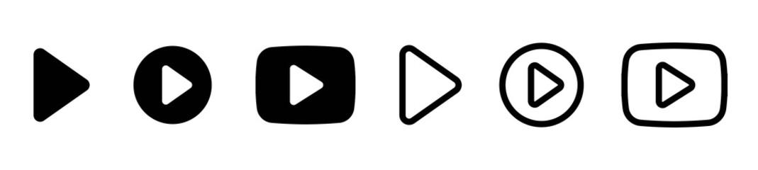 Fototapeta Play button icon circle, start buttons illustration, video audio player navigate symbol, arrow logo