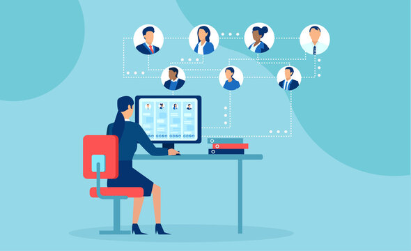 Vector of businesspeople working from home chatting online using modern technology