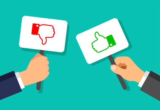 Businessman hands hold plaques with like and dislike gestures. Votes concept. Disagree, agree, feedback. Vector illustration.
