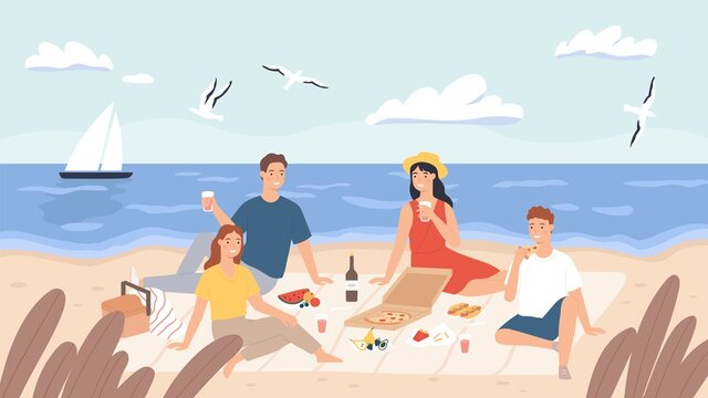 Picnic at beach. Group of friends chill and eat food on sea shore. Happy men and women have lunch outdoor. Holiday on seaside vector concept. People drinking wine, tasting pizza, flying seagulls