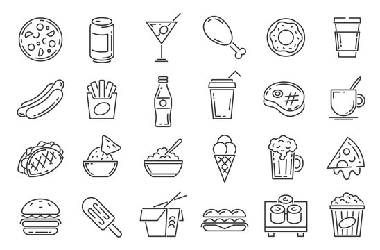 Fast food line icons. Cafeteria snack, sandwich, drink, pizza, hamburger and hotdog. Outline takeaway dishes and cafe menu symbol vector set. Ice cream and french fries, asian noodles