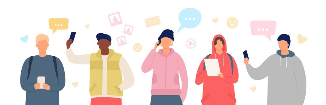Group of people in smartphone chat. Young men and women use gadgets to communicate. Flat characters chatting in social media vector banner. Girl and boy with tablets and cell phone