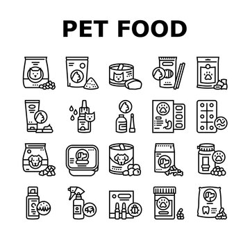 Pet Products Food Collection Icons Set Vector. Dry And Canned Food For Cat And Dog Domestic Animal, Vitamins And Medicine For Worms Black Contour Illustrations
