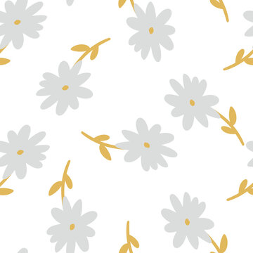 seamless floral pattern with hand-drawn daisy flowers vector illustration. Good for fabric, textile, card, wallpaper, stationary.