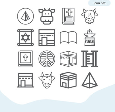 Simple set of taboo related lineal icons.