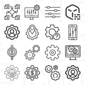 16 pack of stage setting  lineal web icons set
