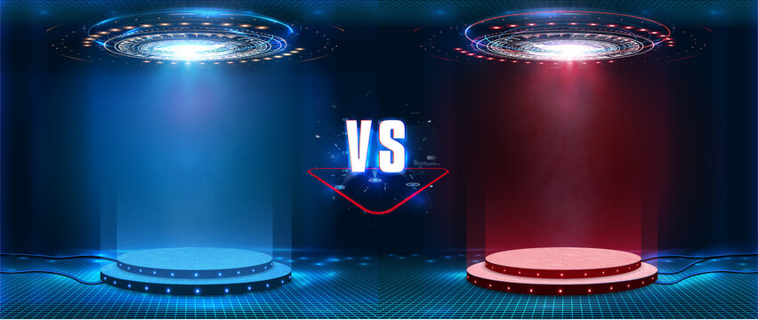 VS, Versus futuristic design. Battle headline template. Futuristic abstract technology background. Circle teleport with sparks on transparent background. Sci-fi concept design. Modern tournament.