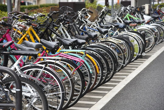A view of the bicycle parking lot around the station in Japan.