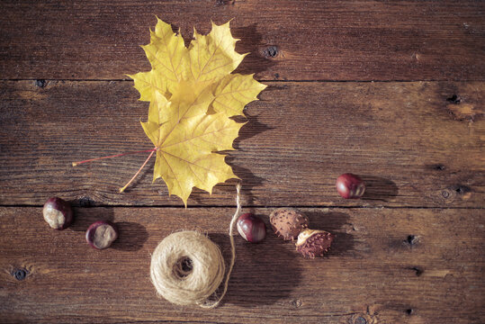 High Angle View Of Food And Autumn Leaves With String On Table