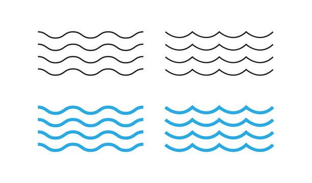 Sea wave icon set. Water logo, line ocean symbol in vector flat