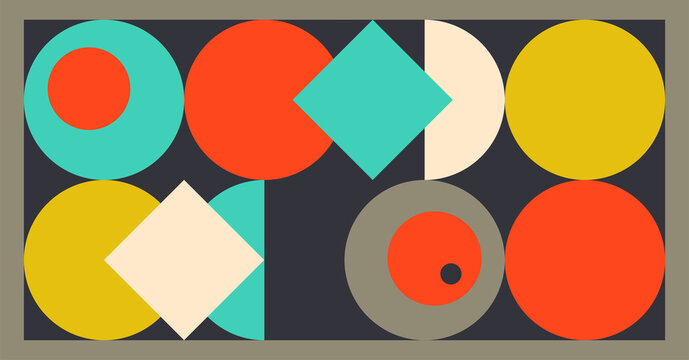 abstract modern design in blue white yellow red orange and gray colors, mid century style background design of simple geometric shapes layered in  groovy pattern