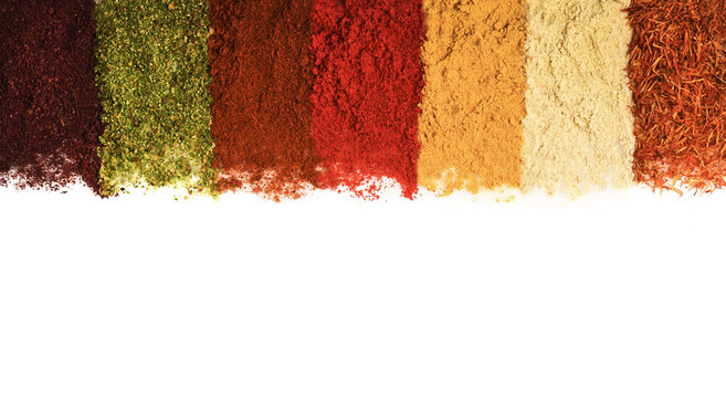 Spices, condiments: turmeric, saffron, smoked pepper, sumac, ginger
