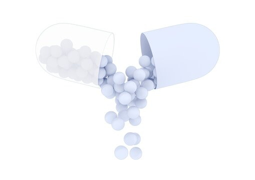 Blank open capsule from which the medicine or vitamin composition is pouring. Medical 3D rendering illustration in flat cartoon style