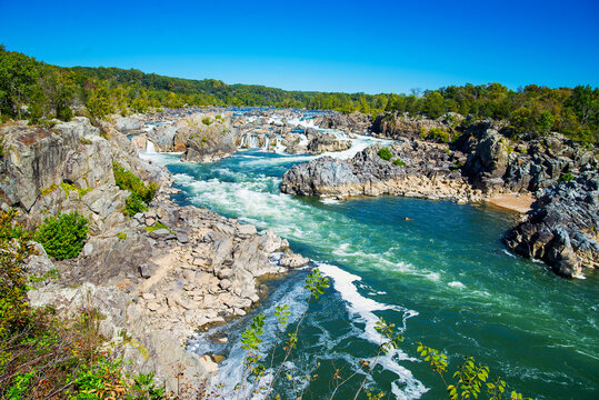 Park Great Falls. view of the Potomac River. Virginia. USA