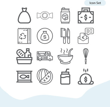 Simple set of bread related lineal icons.
