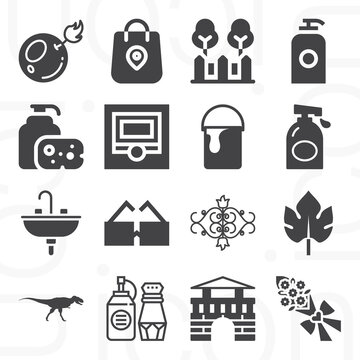16 pack of bath  filled web icons set