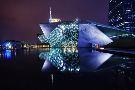 GUANGZHOU, CHINA: Guangzhou Opera House night landscape . Designed by architect Zaha Hadid and has become one of the seven new landmarks in Guangzhou.