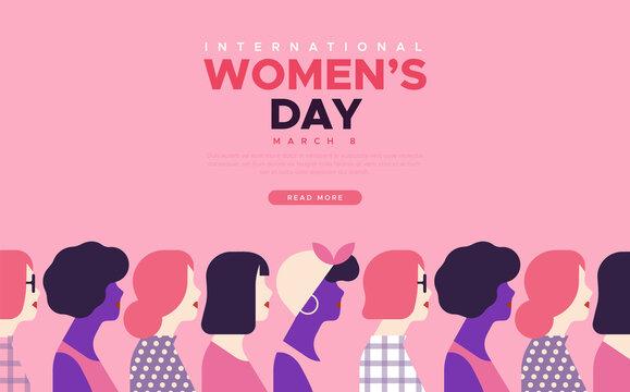 International Women's day diverse women template