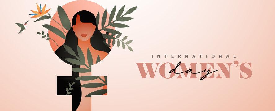 Women's Day tropical flower leaf woman banner