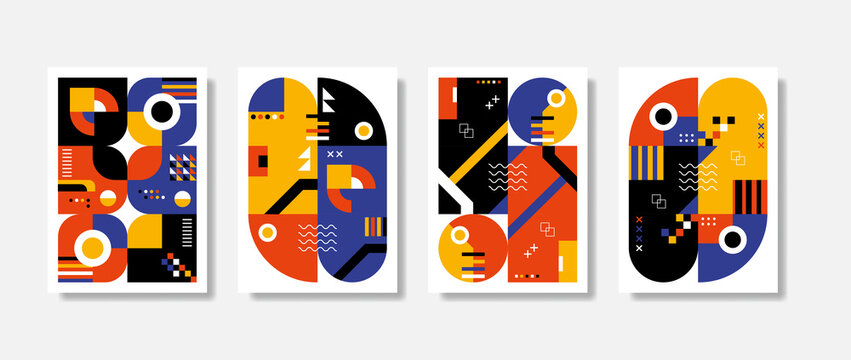 Poster postmodern inspired artwork of vector abstract symbols with bold geometric shapes, useful for web background, poster art design, magazine front page, hi-tech print, wallpaper, cover artwork.