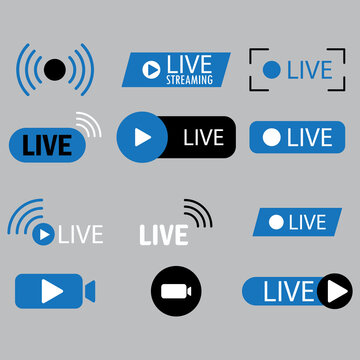 Streaming blue icon. Flat template with live stream icons. Internet broadcast. Live webinar button. Stock image. EPS 10.