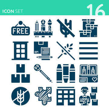 Simple set of 16 icons related to exempt