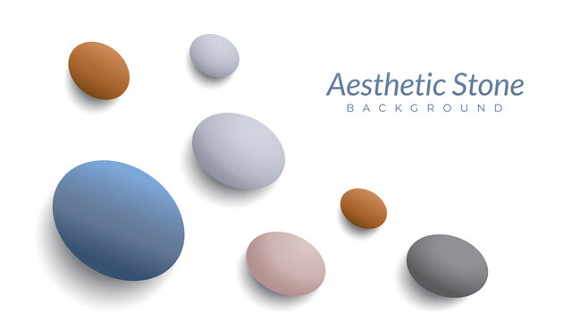 aesthetic background design template with blank space. marble stones vector illustration. oval shape like an egg. white, black, blue gray, beige, brown orange, earth tone. pastel color gradation.