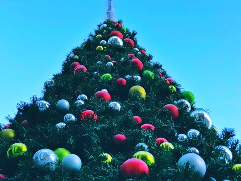 Low Angle View Of Decorations On Christmas Tree Against Clear Sky