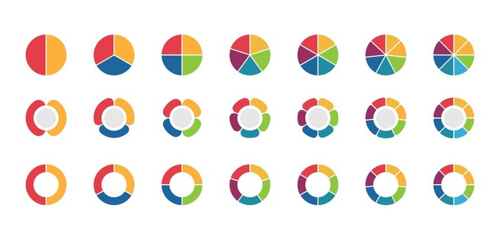 Pie chart set vector design. Vector circle with 2,3,4,5,6,7,8 sections or steps. Colorful circle icon for infographic, UI, or graphic resources.