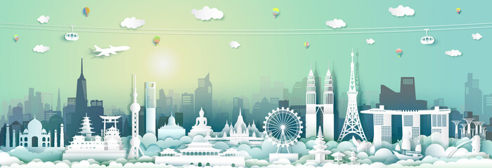 Traveling with capital city by balloon, airplane, Landmarks of asean. Wall mural