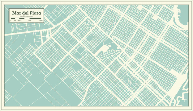Mar del Plata Argentina City Map in Retro Style. Outline Map.