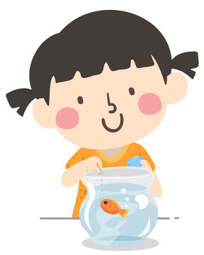 Kid Girl Class Pet Helper Illustration