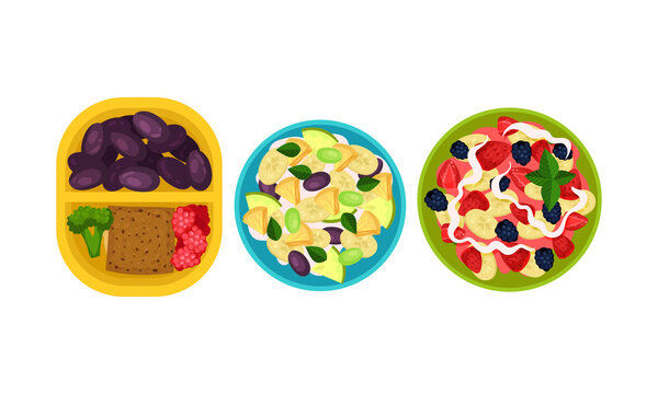 Open Lunch Box with Different Food Inside Vector Set