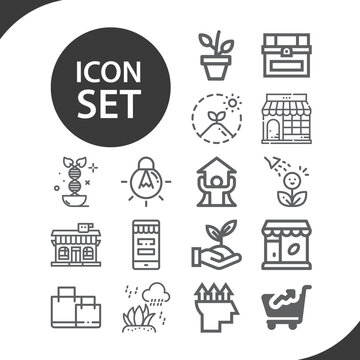 Simple set of originate related lineal icons.