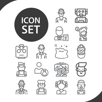Simple set of two people related lineal icons.