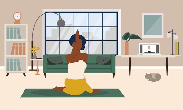 Stay home concept. Girl practicing yoga in living room with online classes. Online yoga clases, healthy lifestyle, live stream, internet education. Vector illustration in flat style.