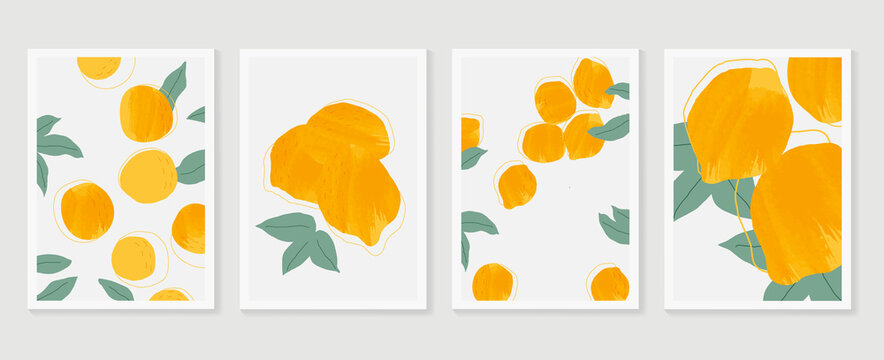 Orange wall art background vector.  Hand drawn boho plants, palm leaves and floral design for summer artistic cards, brochure covers, invitation, wallpaper, canvas prints and poster.