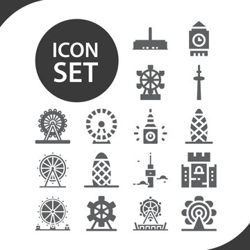 Simple set of toronto related filled icons.