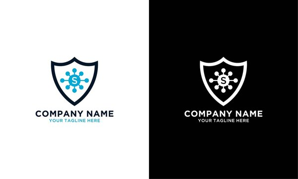 Blue security icon, viruses, bacteria, germs and microbes isolated on a white background. Antibacterial and antiviral defense, infection protection. Logo design template elements. Vector Illustration