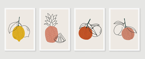 Fototapeta Tropical fruits wall art background vector.  Hand drawn boho plants, palm leaves and floral design for summer artistic cards, brochure covers, invitation, wallpaper, canvas prints and poster. obraz